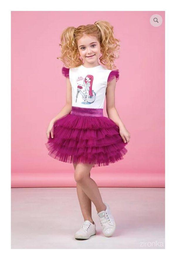 костюм для девочки с пышной юбкой лето 90187 фотография