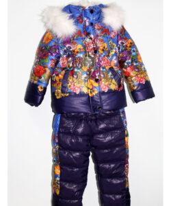 костюм зимний на девочку куртка и полукомбинезон монклер 1709 фотография