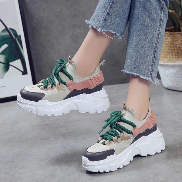 кроссовки женские на массивной подошве с толстым шнурком 5998 фотография