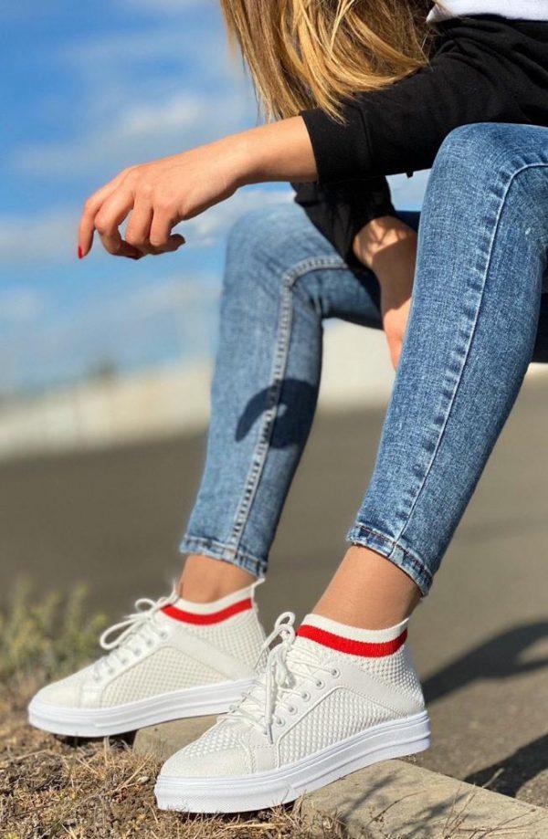 кроссовки-носки со шнуровкой белые 70520 70520 фотография