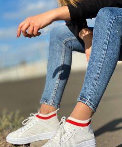 кроссовки женские носки сетка белые 70520 70520 фотография