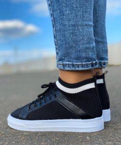 кроссовки-носки со шнуровкой черные 705201 705201 фотография