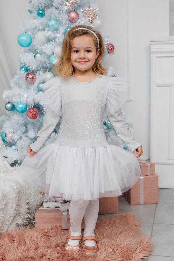 платье для девочки нарядное карина белое 7152 фотография