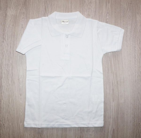 рубашка с коротким рукавом для мальчика поло, белая 10055 фотография