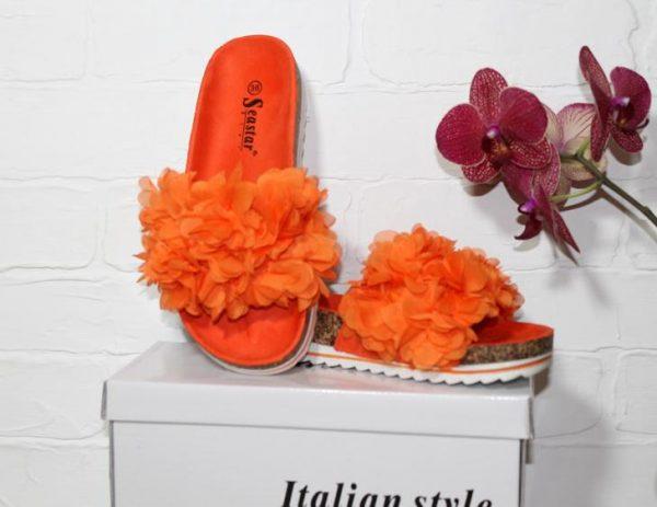 шлепанцы хризантема 40319 оранжевые 40319 фотография