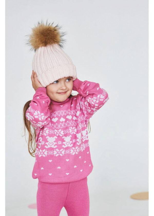 детский теплый свитер на девочку розовый 311016 311016 фотография