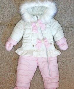 комбинезон цельный человечек для девочки, розовый бантик 181020 фотография