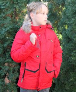 куртка зимняя, пуховик на мальчика красный 231020 фотография