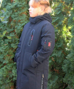 пальто зимнее на мальчика подростка черное 241020 фотография