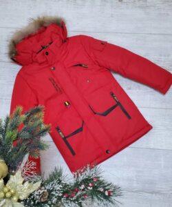 куртка зимняя на мальчика с натуральным мехом красная 231020 фотография