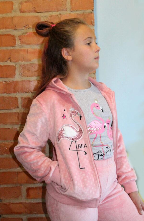 костюм спортивный теплый на девочку фламинго, 8-12 52612 фотография