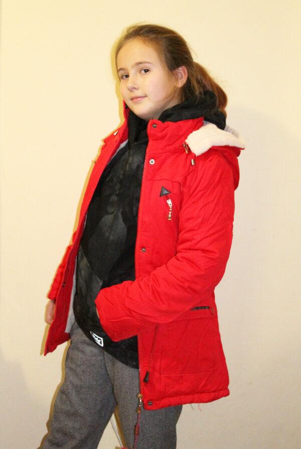 куртка для девочки подростка парка красная 1566 фотография