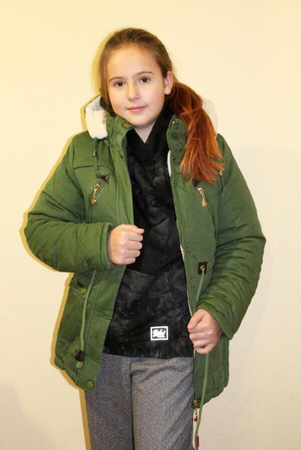 куртка для девочки подростка парка зеленая 2010174-4 фотография