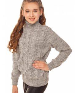 свитер на девочку с высоким горлом серый 1586-4 фотография