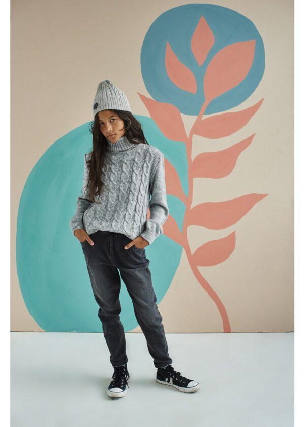 свитер на девочку с высоким горлом серый 15864 15864 фотография
