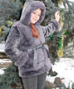 шуба на девочку с капюшоном зимний шик серая 112201 фотография