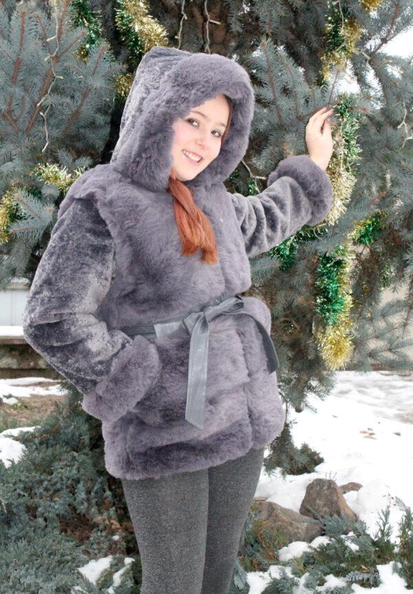шуба на девочку с капюшоном зимний шик серая 112201 112201 фотография