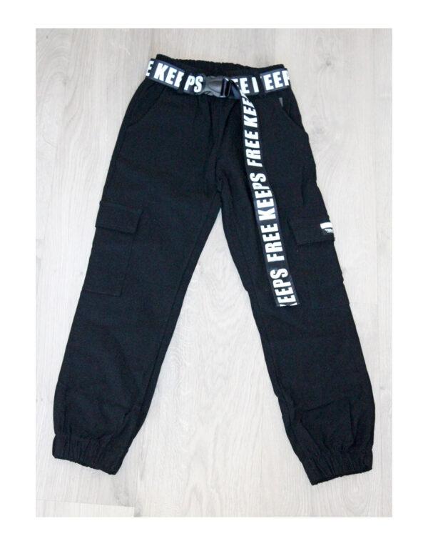 джоггеры брюки для мальчика с поясом черные модно 9022142 190221-1 фотография