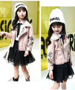 куртка кожаная косуха на девочку розовая 260321 260321 фотография