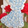 """платье красивое для девочки """"в цветах"""" голубое 2505212 260521-1 фотография №3"""