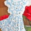 """платье красивое для девочки """"в цветах"""" голубое 2505212 260521-1 фотография №2"""