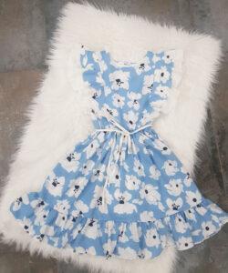 """платье красивое для девочки """"в цветах"""" голубое 2505212 260521-1 фотография"""