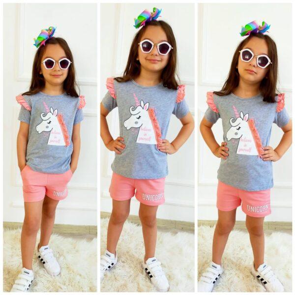 костюм для девочки с шортами единорог гривка 270521 270521 фотография