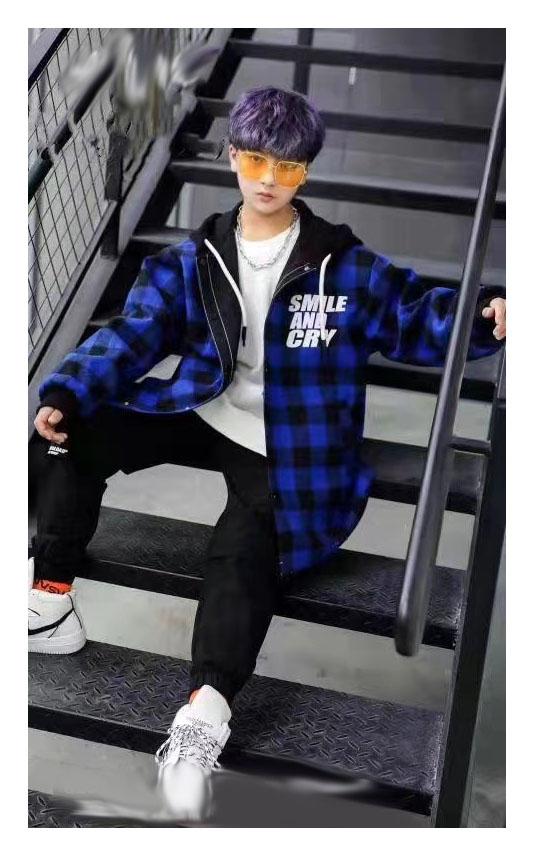 куртка на мальчика подростка двухсторонняя клетка синяя 80221 80221 фотография