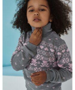 детский теплый свитер на девочку серый 3110162 311016-1 фотография