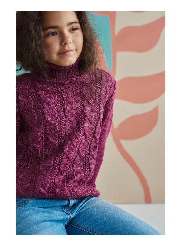 свитер теплый на девочку с высоким горлом бордовый 15863 15863 фотография
