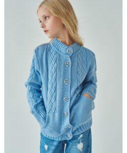 кофта для девочки на пуговицах голубая 1757 1757 фотография