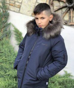 куртка для мальчика подростка зима синяя 2309211 2309211 фотография