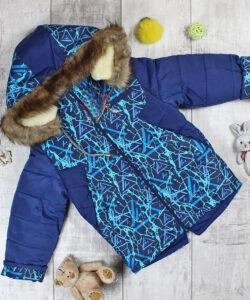 куртка для мальчика зимняя на овчине синяя 201021 201021 фотография