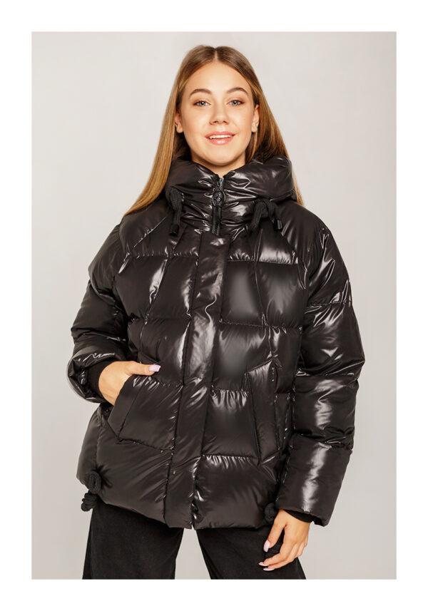куртка зимняя пуховик на девочку подростка черная 1309 1309 фотография